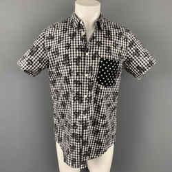 COMME des GARCONS BLACK Size XL Black & White Checkered Cotton Short Sleeve Shirt