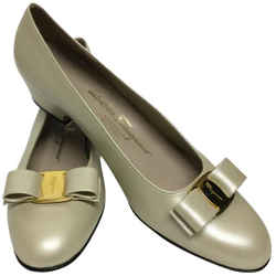 Salvatore Ferragamo Oyster Pearlized with Bow Pumps Size: US 10 Narrow (AA, N) Item #: 22697745