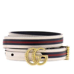 Gucci Marmont GG Logo Thin White Red Web Stripe Leather Belt Size 100 40 550115