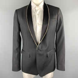 Dsquared2 Size 44 Black Embellishment Wool Shawl Collar Sport Coat