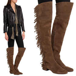 37.5 NEW $1495 SAINT LAURENT Tan Suede BB 70 Over the Knee OTK Babies BOHO BOOTS