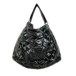 Chanel Large Black Quilted Metallic Nylon Tote, Rare