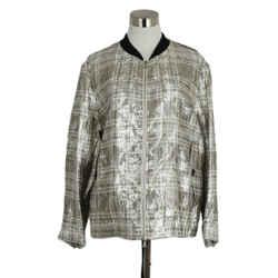 Dries Van Noten Metallic Silver Silk Polyester Jacket Sz. 8
