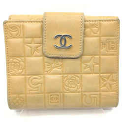 Chanel Quilted Beige Embossed Compact Wallet 861968