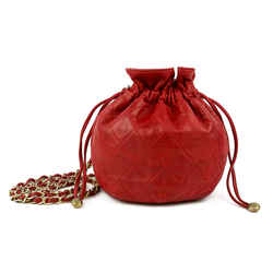 Chanel Red Quilted Lambskin Vintage Drawstring Bag