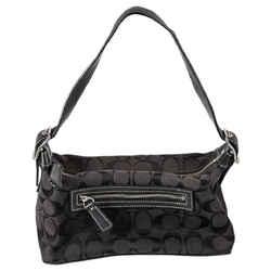 """Coach Soft Signature Canvas Pouch (black) Shoulder Bag 9""""l X 5""""h X 4.5""""w"""