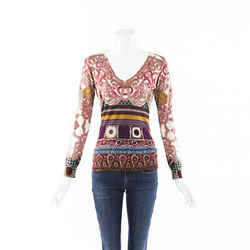 Etro Printed Knit Sweater SZ 42
