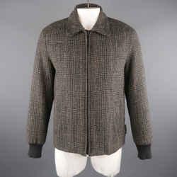 Marc Jacobs 42 Grey & Black Plaid Wool Bomber Jacket