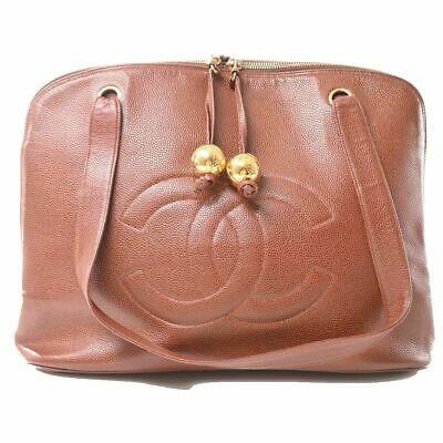 Auth Chanel Chanel Caviar Skin Deca Coco Mark Ball Charm Tote Bag Brown