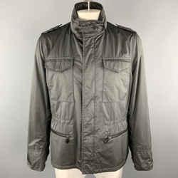 Tom Ford Size 46 Gray Polyester / Nylon High Collar Epaulettes Zip & Snaps Jacket