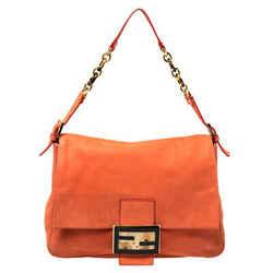 Fendi Orange Leather Mamma Forever Shoulder Bag
