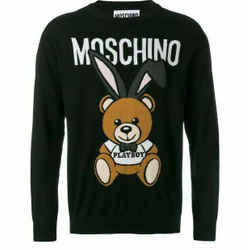 NEW $595 MOSCHINO Couture Black Playboy Teddy Bear Wool Crew Neck Sweater S/M