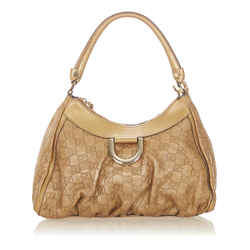 Vintage Authentic Gucci Gold Guccissima Abbey D-Ring Shoulder Bag Italy