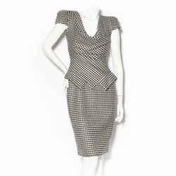 Alexander McQueen Black & White Houndstooth Dress FW2009