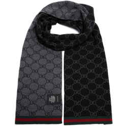 NEW Gucci Unisex Black Wool Reversible GG Guccisima Red Green Stripe Scarf Shawl