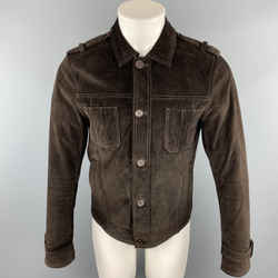 John Varvatos * U.s.a. Size S Brown Solid Suede Buttoned Jacket