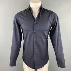 MIU MIU Size S Navy Stripe Cotton Button Up Long Sleeve Shirt