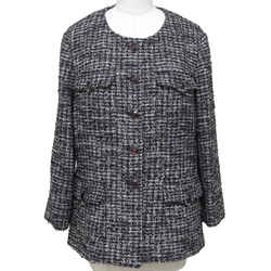 CHANEL Tweed Jacket Blazer Collarless Gripoix Jewel Buttons Long Sleeve 48 2012