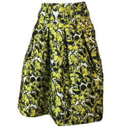 Oscar de la Renta Yellow & Black Pleated Skirt