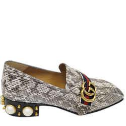 Gucci Mid-heel Gg Snakeskin Loafer Size Us 7 Grey 423559