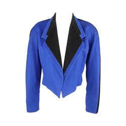 Blue & Black Wool Cropped Blazer
