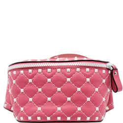VALENTINO  Free Rockstud Spike Leather Belt Bag Pink