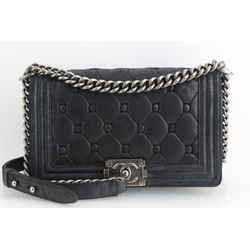 Chanel Waxed Suede Quilted Medium Boy Flap Bag