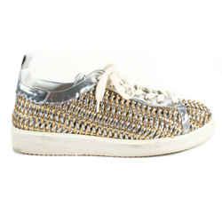 Golden Goose Woven Sneaker - Deluxe Brand - Starter Gold Silver Women 40 US 10
