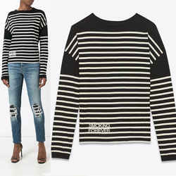 sz XS NEW $890 SAINT LAURENT Black White SMOKING FOREVER Striped Long Sleeve TOP