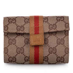 Vintage Authentic Gucci Brown Beige with Multi Canvas Fabric GG Web Pouch ITALY