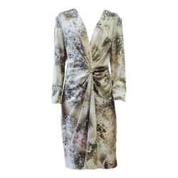 New St John Silk Celadon Sage Gems Print Wrap Deep V Plunge Dress 16 Xl Classic