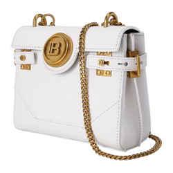 Balmain B-Buzz 18 White Leather Backpack TN0S476L