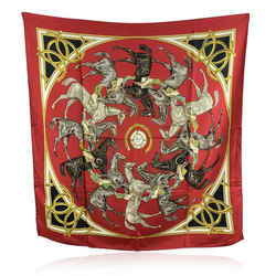 Hermes Vintage Red Silk Scarf Ascots 1831 Francoise De la Perriere 1969