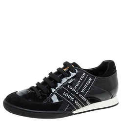Louis Vuitton Black Patent And Suede Leather Low Top Sneakers Size 35