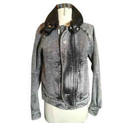 Saint Laurent Size S Black & Gray Denim Leather Trim Jacket Nwt 2400-108-12719
