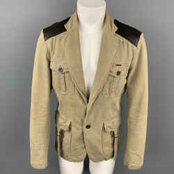 JUST CAVALLI Size L Khaki & Brown Mixed Fabrics Cotton Jacket