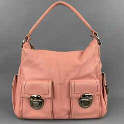MARC JACOBS Pink Contrast Stitch Leather Top Handles Handbag
