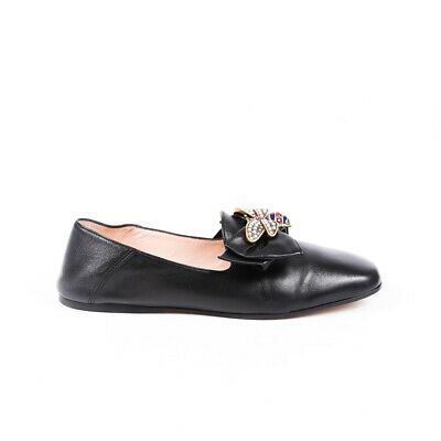 Gucci Loafers Jeweled Bee Square Toe SZ