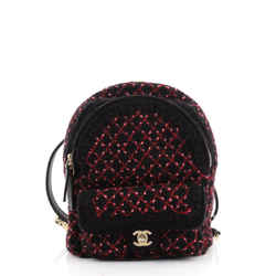 CC Pocket Backpack Knit Fabric and Leather Mini