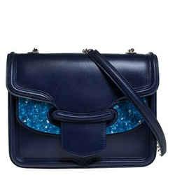 Alexander McQueen Blue Leather Crystal Lucite Heroine Shoulder Bag