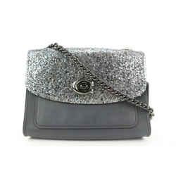 Coach Black Leather Glitter Parker Crossbody Chain Bag 4COA719