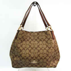 Coach Signature HALLIE F80298 Women's Coated Canvas,Leather Tote Bag Be BF523848