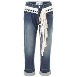 Loewe Antiqued Navy Medium Wash Rope-trimmed Capri/cropped Jeans