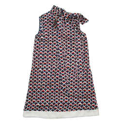 Valentino - 2019 Ss Sleeveless Puzzle Dress - Silk Logo Print Tie Neck - Us 2