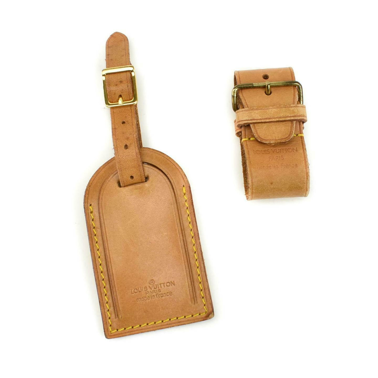 louis vuitton tan vachetta leather logo luggage tag keepall leprix leprix