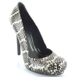 Alexander Mcqueen Optic Snake Skin Pumps Size 5.5 New $945 Grey White Heels Auth