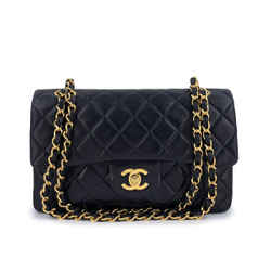 Chanel 1997 Vintage Black Small Classic Double Flap Bag 24k GHW Lambskin