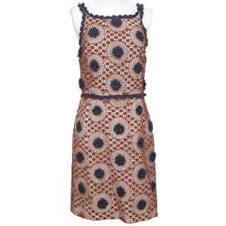 TORY BURCH Dress Sleeveless Crochet Knit Brown Navy Blue Floral Sz 8