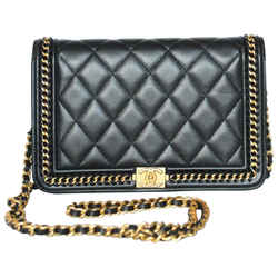 Chanel Boy Wallet on Chain Quilted Gold Le Woc Black Calfskin Leather Cross Body Bag