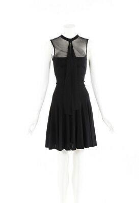 Saint Laurent Dress Black Sheer Sleeveless Pleated